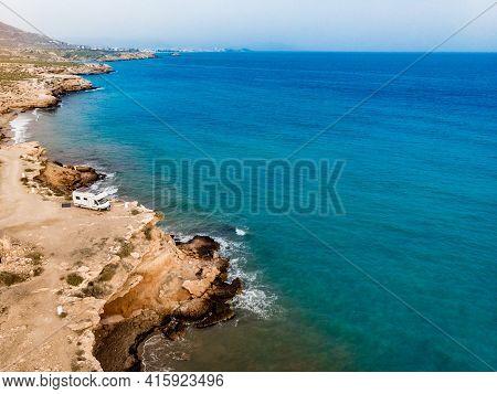 Caravan Camping On Cliff Sea Shore. Mediterranean Region Of Mazarron In Murcia, Spain.