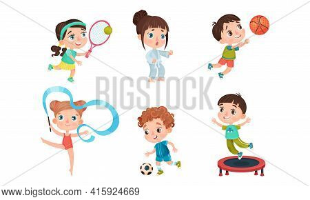Cute Kids Playing Basketball, Jumping On Trampoline, Playing Football And Doing Karate Vector Set