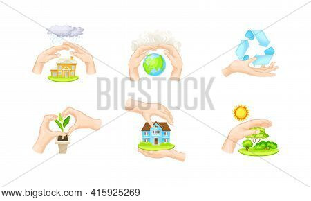 Hands Protecting Earth And Eco System Covering Green Vegetation And Globe With Palms Vector Illustra