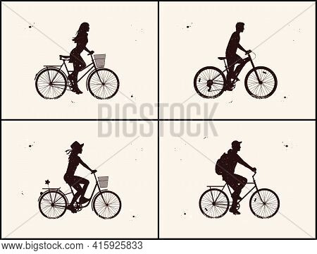 People On Bike. Cyclist On Bicycle Silhouette Set. Night Starry Sky