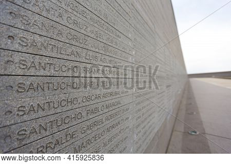 Buenos Aires, Argentina, November 20: Details Of The Wall From The Parque De La Memoria In Buenos Ai