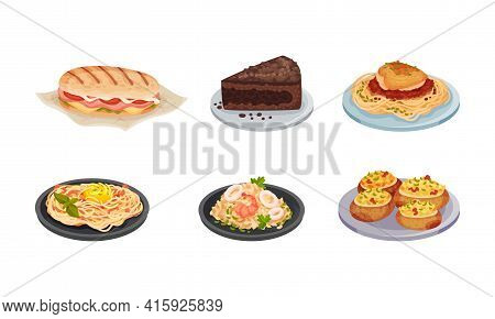 Italian Cuisine Dishes With Panini Stuffed With Ham And Tomatoes And Chocolate Cake Vector Set