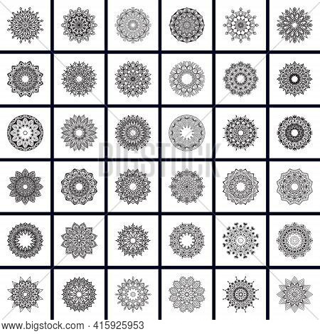 Mandala Vector Pack Of 36, For Coloring Book. Anti-stress Therapy Patterns. Set Of Ornament Round Ma