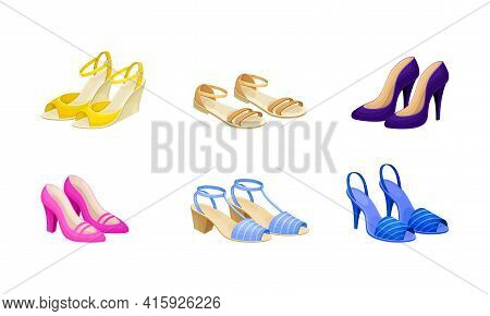 Womens Shoes With High Heels And Flat Sole Vector Set