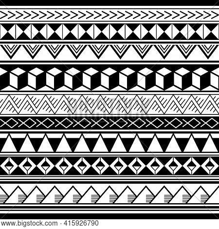 Polynesian Ethnic Geometric Seamless Vector Pattern, Retro Hawaiian Tribal Repetitive Design In Blac