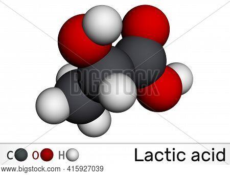Lactic Acid, Lactate, Milk Sugar, C3h6o3 Molecule. It Is Food Additive E270 And Alpha-hydroxy Acid A
