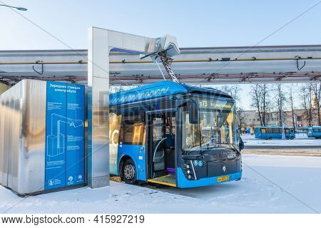 High-voltage Electric Charging Station For Charging Electric Buses At The Final Stop Of The City Rou