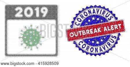 Pixel Halftone 2019 Covid Calendar Day Icon, And Coronavirus Outbreak Alert Rubber Stamp Seal. Coron