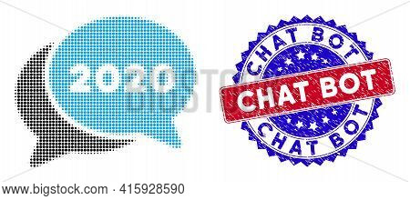 Dot Halftone 2020 Chat Messages Icon, And Chat Bot Scratched Stamp Seal. Chat Bot Stamp Seal Uses Bi