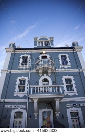 Cape Town, South Africa, Dec 12: Old Blue Colonial Old Buidling In Cape Town With Clear Blue Sky. Sh