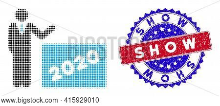 Pixel Halftone 2020 Showing Man Icon, And Show Unclean Stamp Seal. Show Stamp Uses Bicolor Rosette F