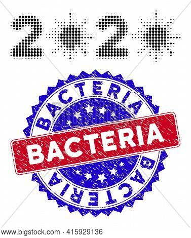 Dot Halftone 2020 Virus Year Icon, And Bacteria Unclean Stamp Seal. Bacteria Stamp Seal Uses Bicolor