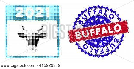Dotted Halftone 2021 Bull Calendar Icon, And Buffalo Rubber Stamp Imitation. Buffalo Stamp Seal Uses