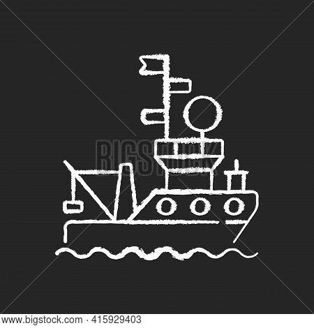 Research Vessel Chalk White Icon On Black Background. Ship Or Boat Designed And Equipped To Carry Ou