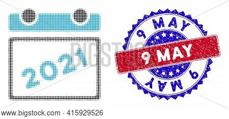 Pixelated Halftone 2021 Calendar Leaf Icon, And 9 May Grunge Stamp. 9 May Stamp Seal Uses Bicolor Ro