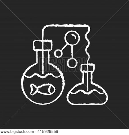 Marine Chemistry Chalk White Icon On Black Background. Field Of Chemical Oceanography Studies Chemis
