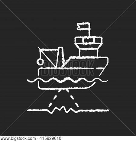 Seafloor Mapping Chalk White Icon On Black Background. Pulsing Seafloor With Series Of Soundings. Re
