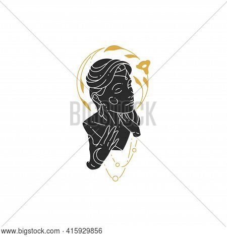 Female Portrait Silhouette With Flower Modern Silhouette Drawing Style