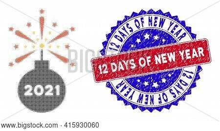 Dot Halftone 2021 Fireworks Detonator Icon, And 12 Days Of New Year Rough Stamp. 12 Days Of New Year