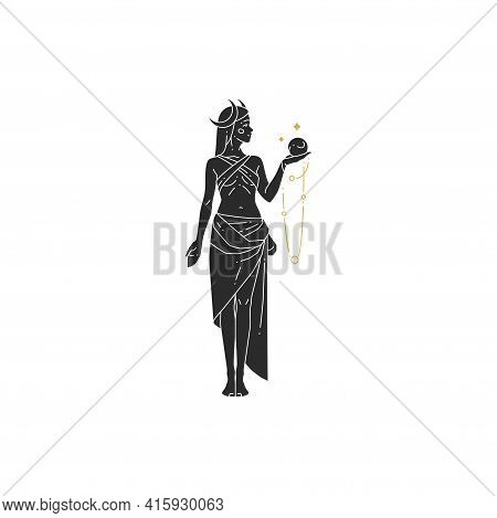 Beautiful Bohemian Woman Goddess With Crystal Ball And Moon Crescent Silhouette