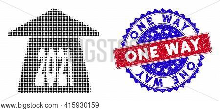 Pixel Halftone 2021 Forward Arrow Icon, And One Way Rubber Stamp Imitation. One Way Stamp Seal Uses