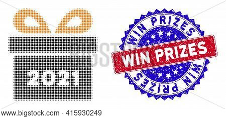 Dotted Halftone 2021 Gift Icon, And Win Prizes Rubber Seal. Win Prizes Seal Uses Bicolor Rosette For