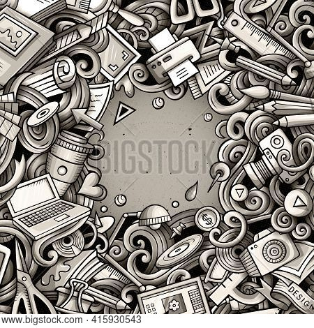 Cartoon Vector Doodles Design Card. Graphics Detailed, With Lots Of Objects Illustration. All Items