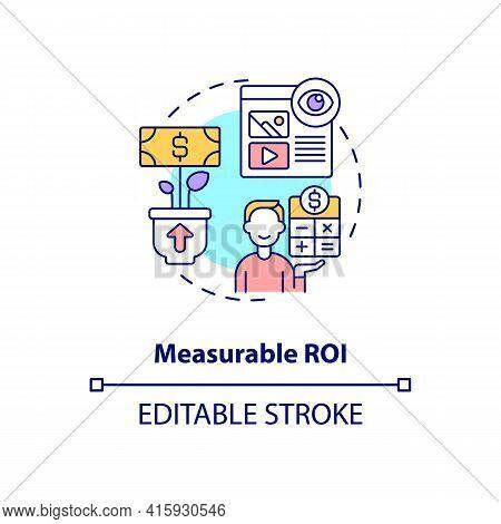 Measurable Roi Concept Icon. Digital Marketing Strategy. Online Pr Campaign Benefit. Smart Content I