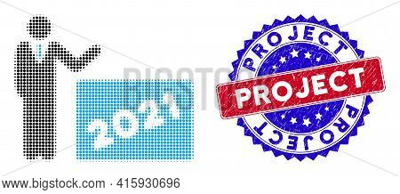 Dotted Halftone 2021 Showing Man Icon, And Project Rough Stamp. Project Stamp Uses Bicolor Rosette S