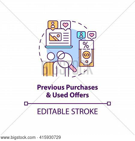 Previous Purchases And Used Offers Concept Icon. Online Customer Information. User Data. Smart Conte