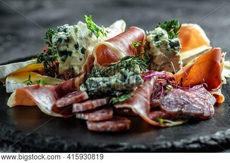 Antipasto With Traditional Spanish Meat Snacks On A Slate Board, Antipasto Platter. Catering, Banner