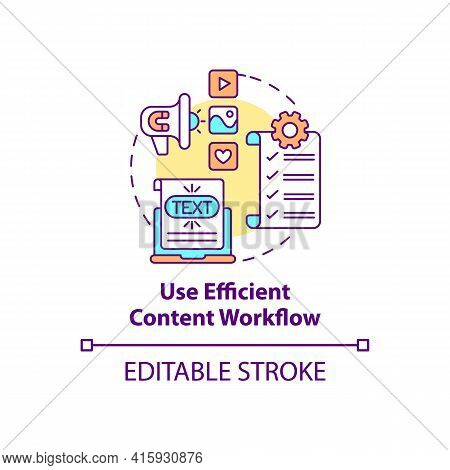 Use Efficient Content Workflow Concept Icon. Software For Business Optimization. Online Marketing. S