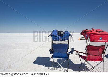 Bonneville Salt Flats, Ut, September 8: Two Empty Chairs Facing The Racing Field During World Of Spe