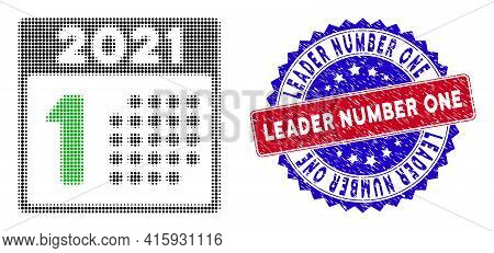Dotted Halftone 2021 Year First Day Icon, And Leader Number One Rubber Stamp Seal. Leader Number One