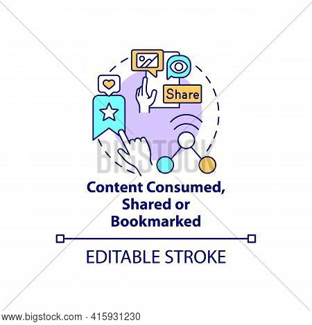 Content Consumed, Shared, Bookmarked Concept Icon. Social Media Engagement. Internet User Action. Sm