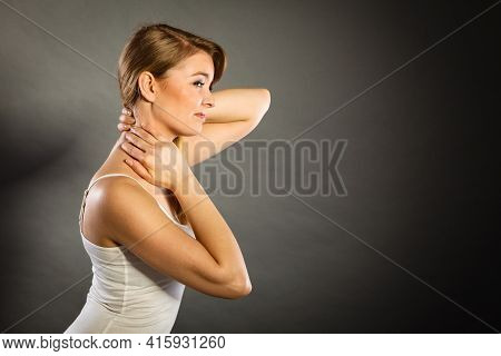Feeling Exhausted, Back And Spine Disease. Woman Having Bad Ache. Female Placing Hands On Her Neck S