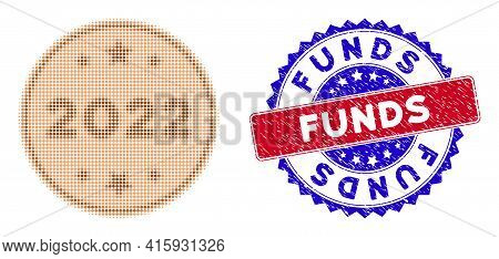 Pixel Halftone 2022 Bronze Coin Icon, And Funds Rough Stamp Print. Funds Stamp Seal Uses Bicolor Ros