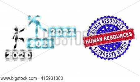 Pixel Halftone 2022 Buisiness Training Stairs Icon, And Human Resources Rubber Seal. Human Resources