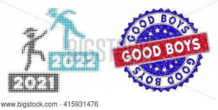 Pixelated Halftone 2022 Business Training Icon, And Good Boys Rubber Stamp Seal. Good Boys Seal Uses