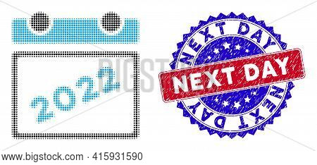 Dot Halftone 2022 Calendar Leaf Icon, And Next Day Rubber Seal. Next Day Stamp Seal Uses Bicolor Ros