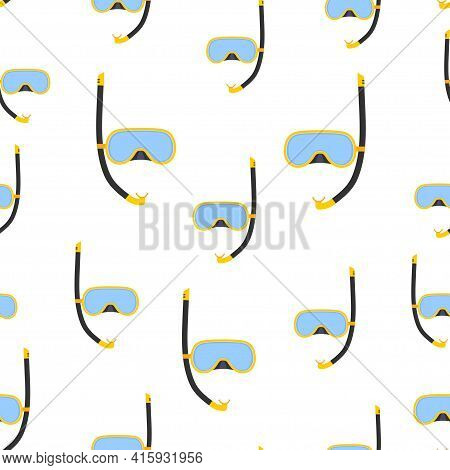Diving Mask And Snorkel Seamless Pattern, Background Underwater Equipment For Sport And Snorkeling L