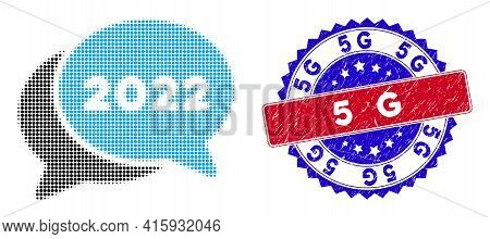 Dot Halftone 2022 Chat Messages Icon, And 5g Textured Stamp. 5g Stamp Seal Uses Bicolor Rosette Shap