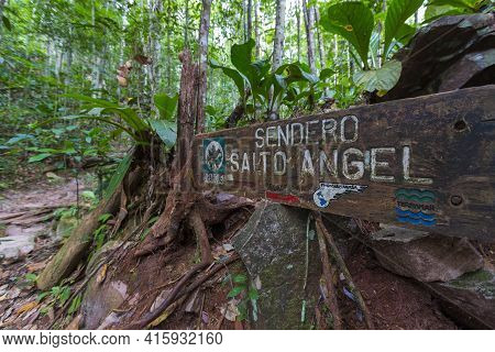 Canaima, Venezuela, April 11: Wood Sign On The Trail To The Salto Angel In Canaima National Park, Ve
