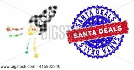 Dotted Halftone 2022 Fireworks Rocket Icon, And Santa Deals Rubber Stamp Print. Santa Deals Stamp Se