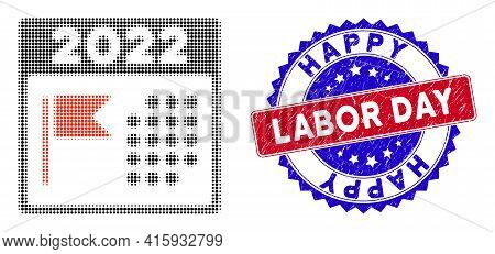 Pixelated Halftone 2022 Holiday Calendar Icon, And Happy Labor Day Scratched Watermark. Happy Labor