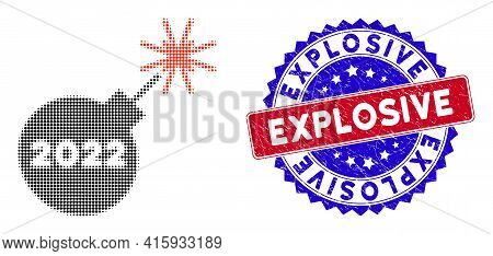 Pixelated Halftone 2022 Petard Icon, And Explosive Rubber Seal. Explosive Stamp Seal Uses Bicolor Ro