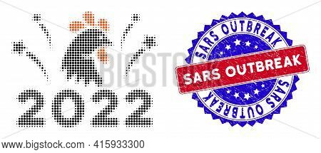 Pixel Halftone 2022 Rooster Fireworks Icon, And Sars Outbreak Rough Stamp Seal. Sars Outbreak Stamp