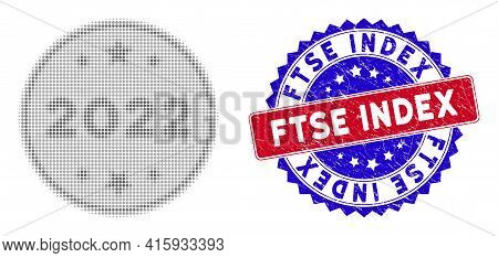 Dot Halftone 2022 Silver Coin Icon, And Ftse Index Rough Seal. Ftse Index Stamp Seal Uses Bicolor Ro