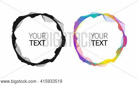 Wave Of Many Colored Lines Circle Frame. Minimalistic Abstract Background. Creative Line Art. Design