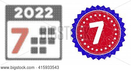 Pixel Halftone 2022 Year 7 Days Icon, And 7 Unclean Stamp. 7 Stamp Uses Bicolor Rosette Template, Re